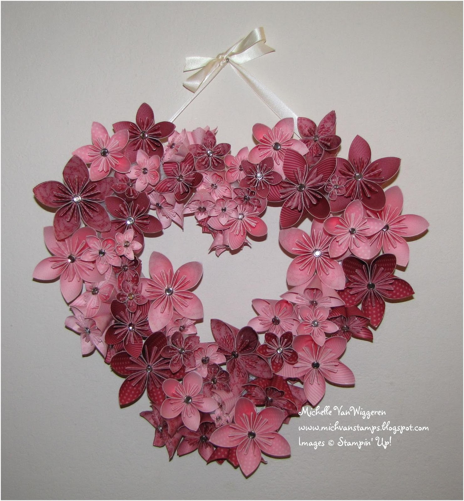Michelles Great Paper Chase Completed Valentines Kusudama Wreath