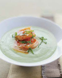 Chilled Cucumber-Avocado Soup with Spicy Glazed Shrimp Food Recipes