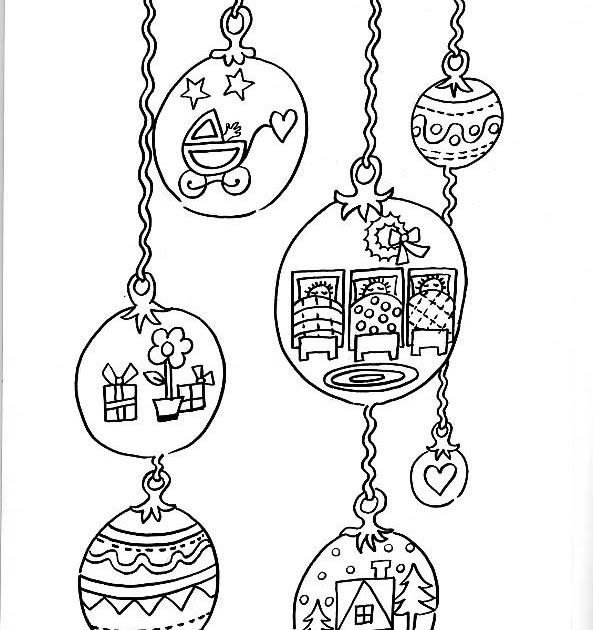 Dibujos para colorear de Navidad: Dibujo para colorear adornos ...