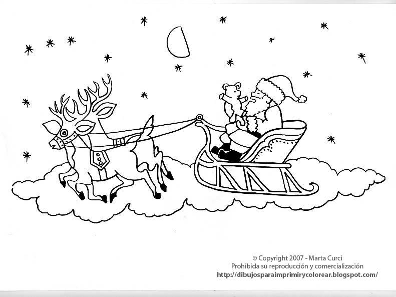Dibujos para colorear de Navidad: Dibujo de Papá Noel en ...