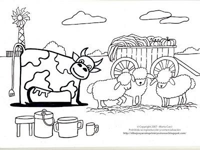 dibujo de una vaca y ovejas para imprimir y colorear