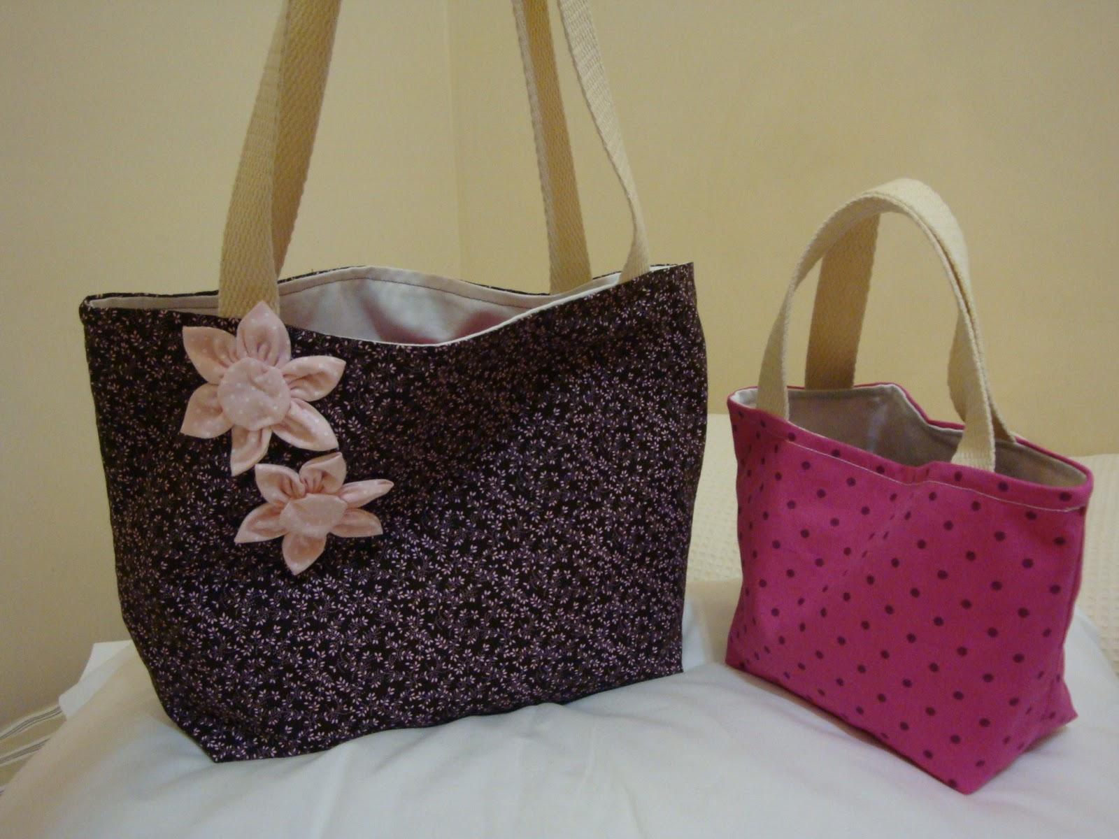Bolsa De Tecido Pinterest : De chita e fil? bolsa tecido com flor fuxico