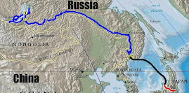 Track from Tokyo to Irkutsk