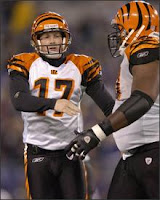 Cincinnati Bengals' Shayne Graham (17) is congratulated by guard Bobbie Williams after kicking his sixth field goal against the Baltimore Ravens in an NFL football game Sunday, Nov. 11, 2007, in Baltimore.(AP Photo/Gail Burton)