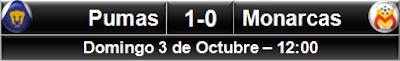 Pumas UNAM 1-0 Monarcas