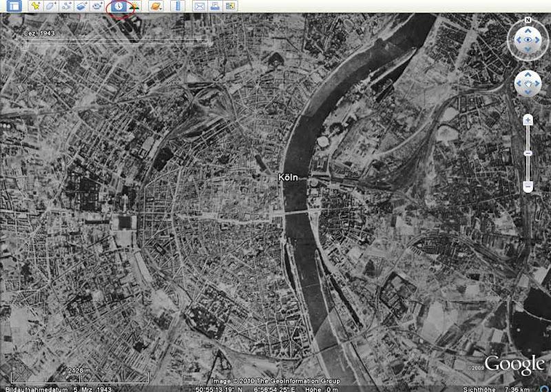 Google Earth Köln im Kriegsjahr 1943