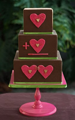 Brown and pink hearts cake