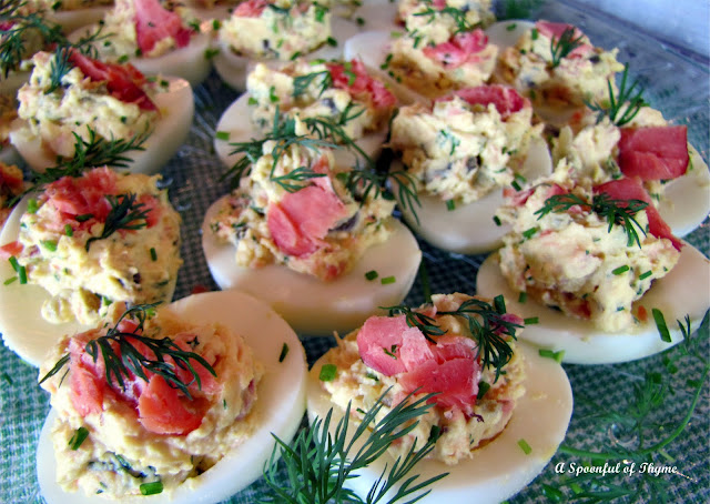 Recipe Smoked Salmon Deviled Eggs by A Spoonful of Thyme