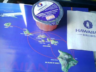 マウイ島へ向かうハワイアンエアーラインの機内で