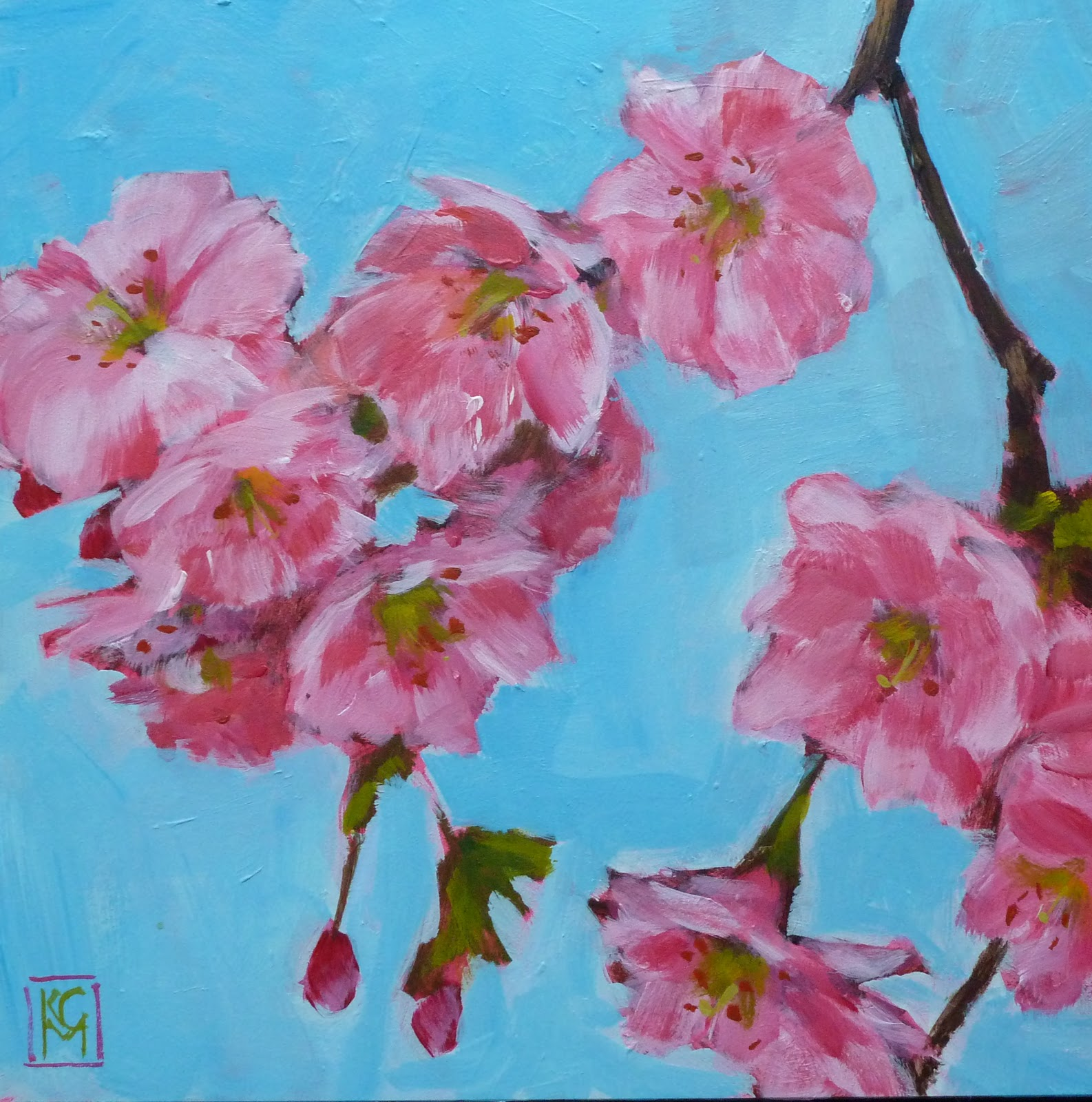 kelley macdonald 39 s paintings cherry blossoms 8x8 acrylic