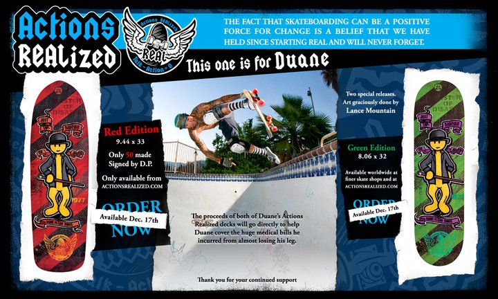Duane Peters Benefit Boards, DLX/Real, Skateboard News, actionsrealized.com, Lance Mountain, Glory Bound Tour, Mike Vallely