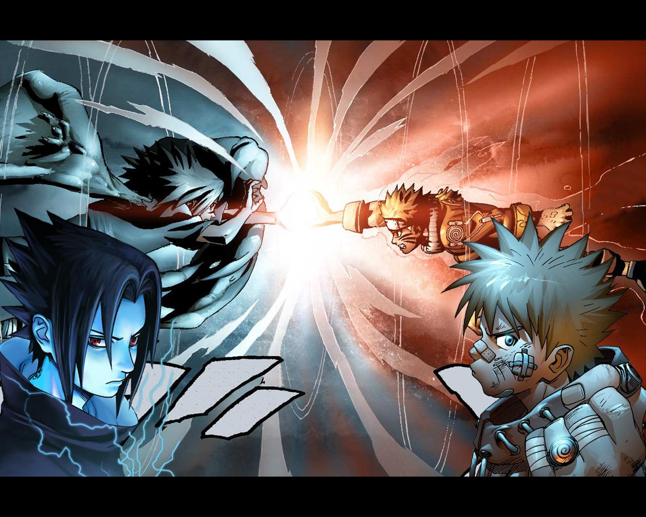Naruto For Kaskuser: Sasuke Demon Vs Naruto Kyubi Wallpaper