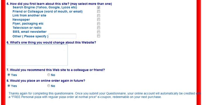 questionnaire for pizza Our pizza hut survey guide provides pizza hut customers with instructions for the  tellpizzahut survey available online at tellpizzahutcom we also feature.