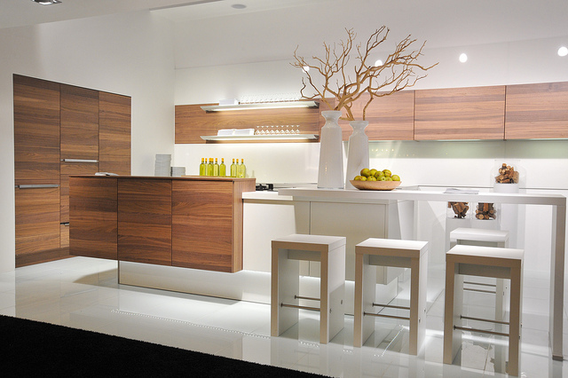This Design From Nolte Kitchens Continues The Trend Of Mixing A Wood Veneer  Finish With A Pale Gloss Or Satin Finshed Door To Provide Variety And  Warmth To ...