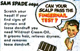 Sam Spade Hair Tonic Comic Book Advertisement Wildroot Cream Oil