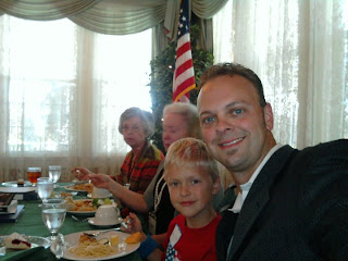 Travis Bowman with son Josh at the head table at DAR luncheon