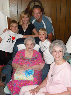 Travis, Michelle, Austin, and Josh with Grandmother Barret at her house in Mechanicsville, Virginia