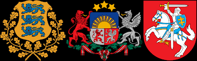 The coats of arms of the Baltic independent republics: from left to right − Estonia, Latvia and Lithuania