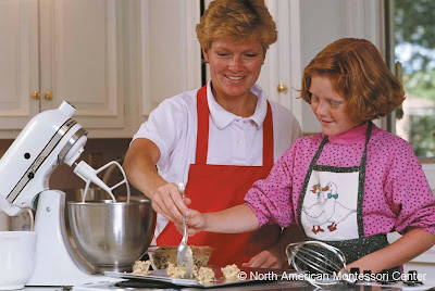 NAMC montessori practical life character work child and mother baking