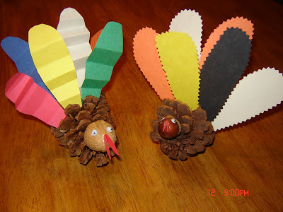 NAMC montessori activities thanksgiving pinecone turkeys