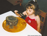 NAMC montessori twos activity presentation observing nature close up girl looking at stump