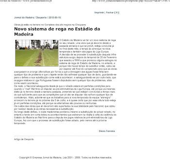 Novo Sistema de Rega no Estadio da Madeira