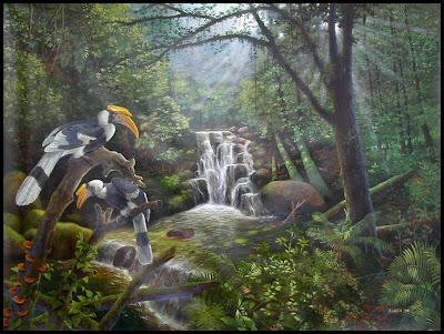The forgotten land - lukisan burung dan pemandangan hutan (early work