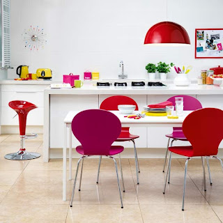 Colorful Bright Kitchen Rainbow brights are perfect for giving a dull room wow factor. Choose at least three colours to work with - any less and it will look too staid - and use them sparingly around the space for maximum impact. A white background is best as it will make the brights stand out and look extra fresh
