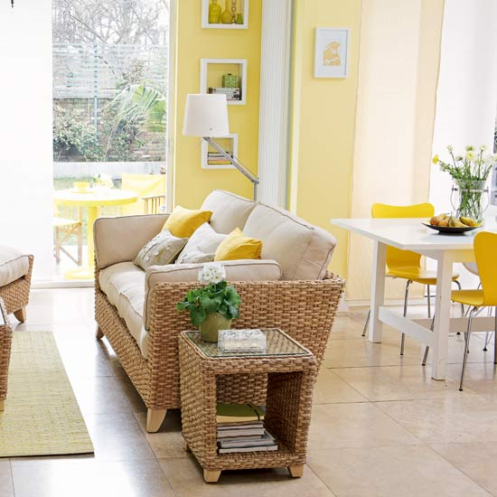 Yellow Open Plan Living Room Rilex House