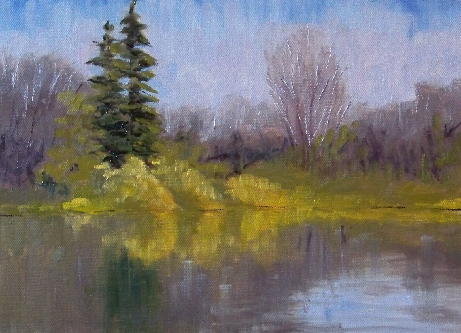 Painting Small Impressions Winter Pond Landscape Oil Painting
