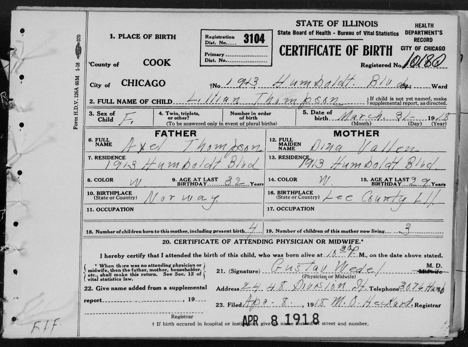 Finnestad Ancestry Lillian Thompson Birth Certificate