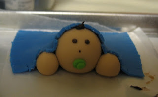 baby shower cake baby under blanket