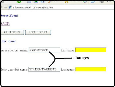 get_focus() lost_focus() change lowercase to uppercase onclick()