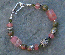Unakite and Cherry Quartz with Bali Silver