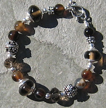 Multi-Stone Brown and Bali Silver Bracelet