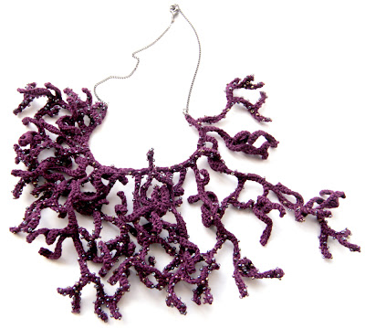 freeform crochet crocheted necklace jewelry sea inspired coral