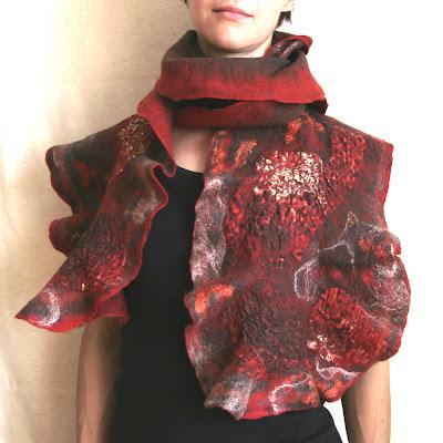 ruffled nuno felt scarf
