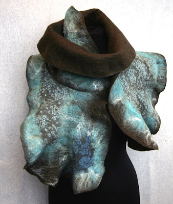 wool scarf, wrap, nuno felt, felted, ruffle, ruffled