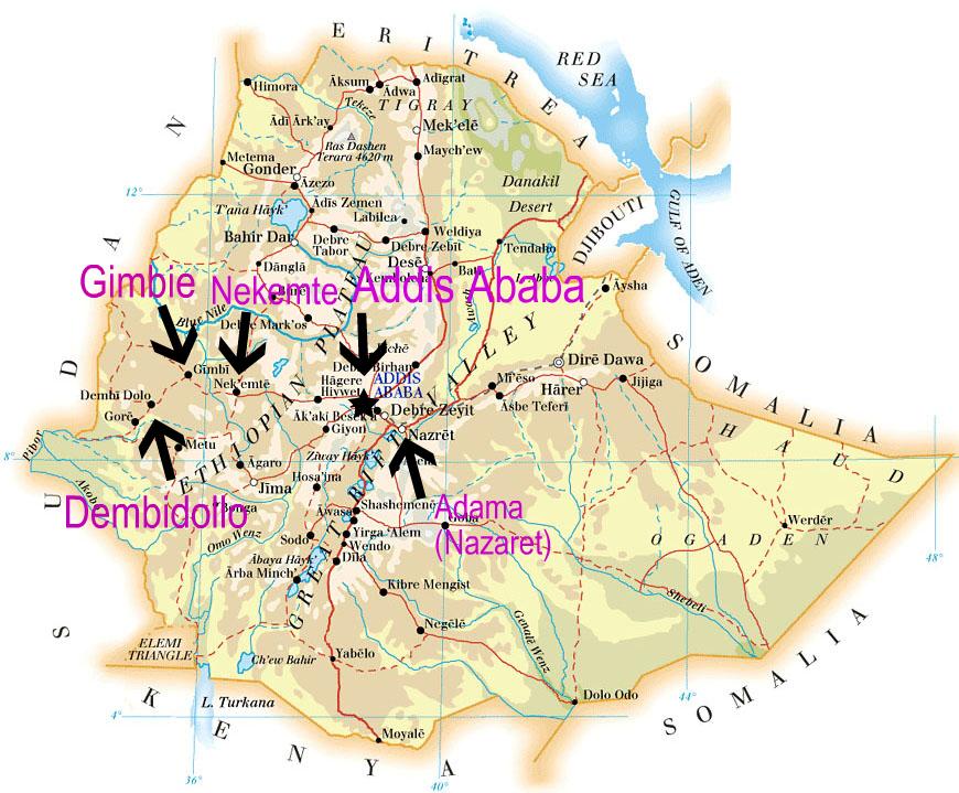 Ethiopian Road Network Map