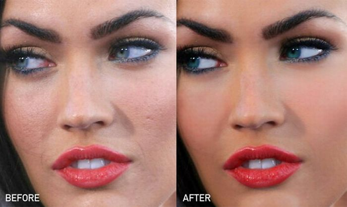 megan fox before and after photoshop. Megan Fox before and after