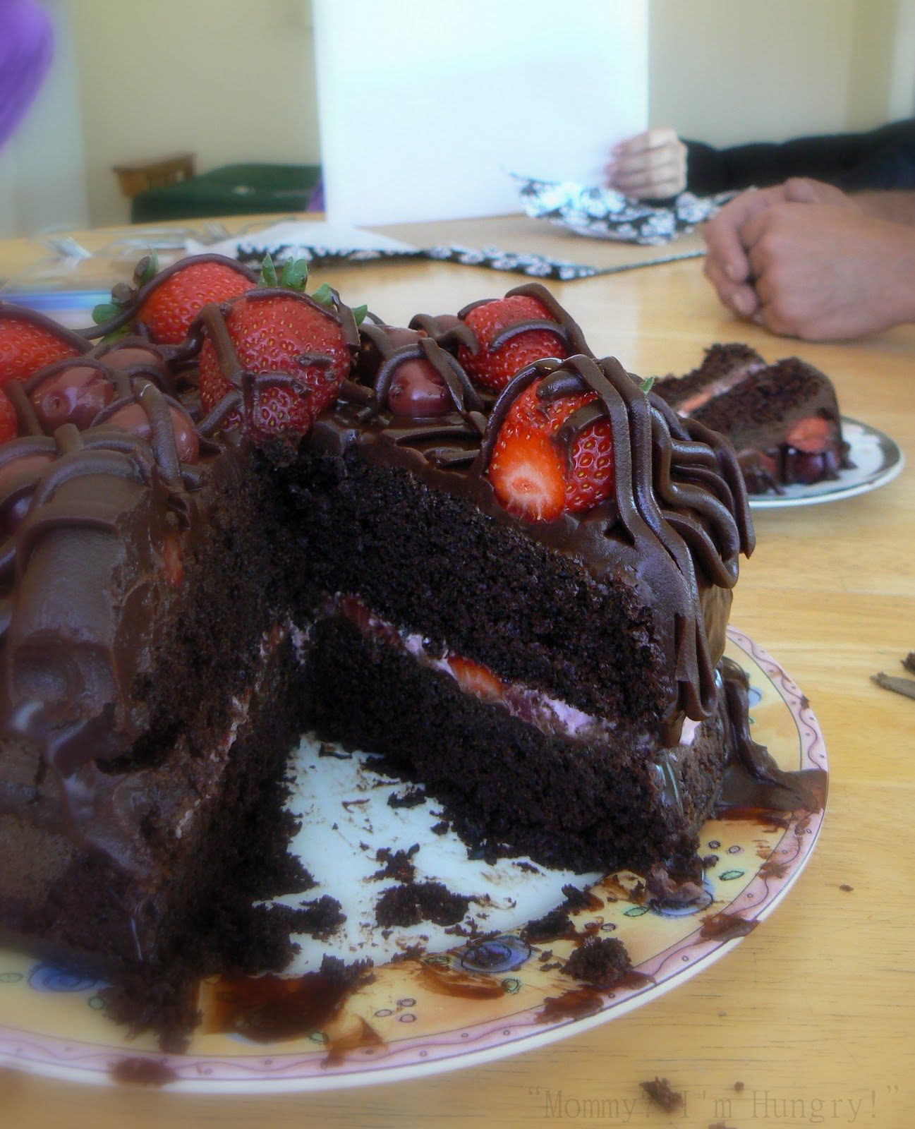 Cake With Chocolate Ganache And Strawberry Filling : MIH Recipe Blog: Chocolate Cherry Strawberry Ganache Cake