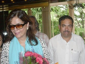 Ajay Tripathi with Zeenat Aman at Raipur Airport