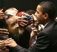 Supporters swarm as Blacks4Barack's Greg Jones & President Obama talk(Cleve. Plain Dealer)