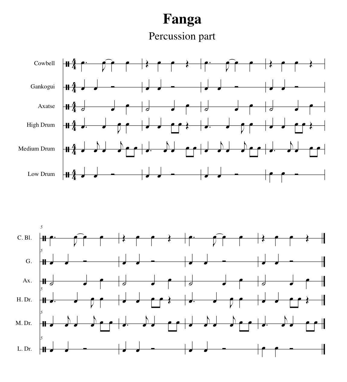 Bollywood Sheet Music September 2011: Church Drummers