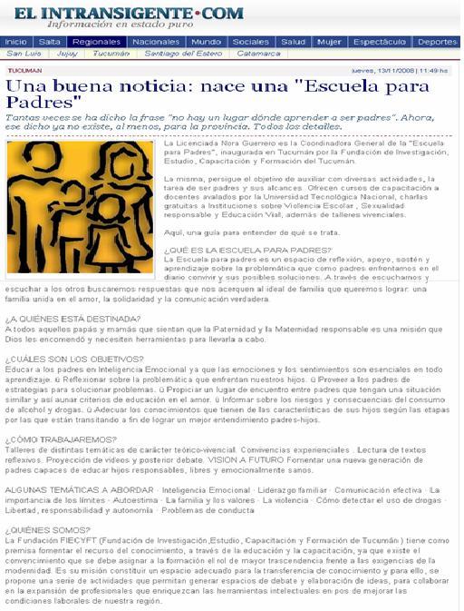 Diario Digital: El Intransigente - Salta - 13 de Noviembre de 2008