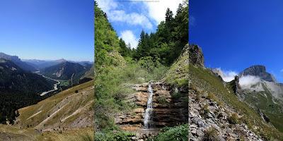 A gauche, le vallon de la Jarjatte. Au milieu, une petite cascade avant d'attaquer la grande montée. A droite, une vue sur le Rocher Rond pendant la grande montée.