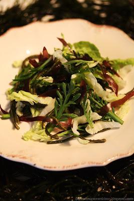 Salade marine (laitue, plantain corne de cerf, dulse, laitue et haricot de mer)
