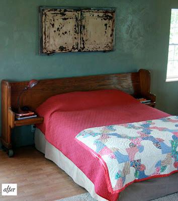 Antes y después, banco de iglesia a un cabecero para cama de matronio