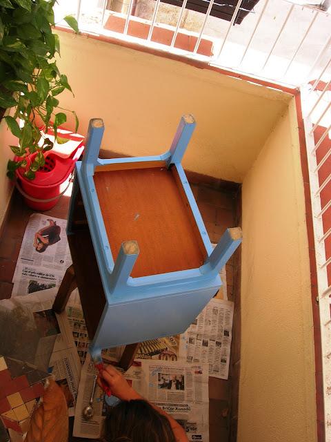mesita de noche setentera, mesas, restauración, reciclado, aguamarina, azul, pintura, pintar