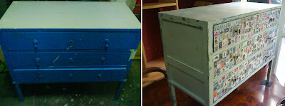 Antes y Después/Before and After, Cómodas restauradas, Reciclado, sellos
